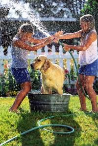 Girls Spraying Each Other While Washing Dog