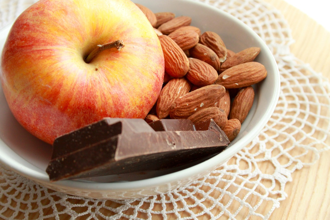 apple,almonds and chocolate