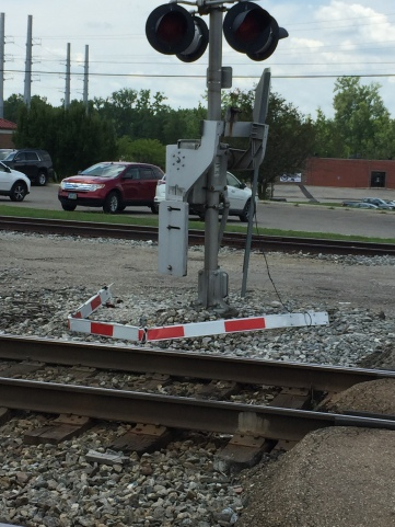 Rail Road crossing bar hit by a vehicle