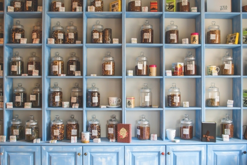 Cupboard with different types of teas