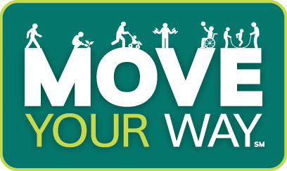 Move Your Way Logo with people doing various activities on top of MOVE