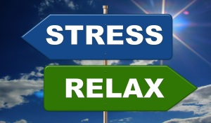 road sign - one pointing right with the word stress and one point left with the word relax