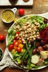 Salad with chickpeas, beets, vegetables