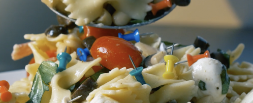 """Scary"" picture of pasta salad with thumbtacks"
