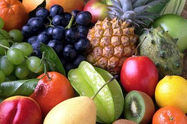 Picture of fruits- apple, grapes, kiwi, pear, orange and other fruits
