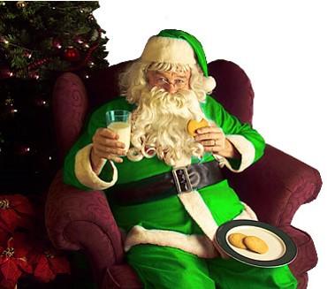 Green Santa eating cookies
