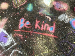 Be Kind words writtten in chalk