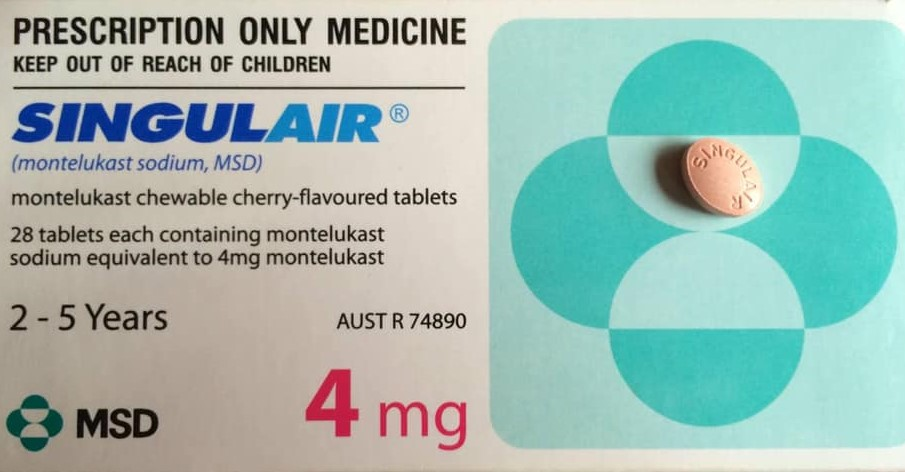 Box of Singulair/Montelukast Prescription Medication