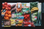 picture of fruits, vegetables, and meat and poultry foods.