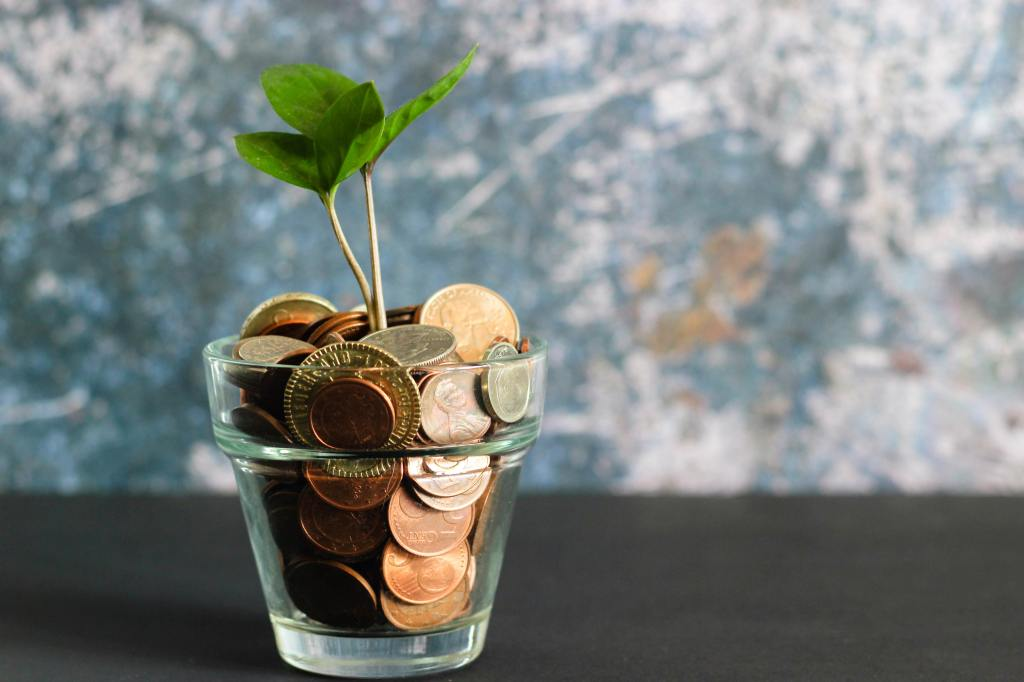 Coins in glass pot with a green plant growing out