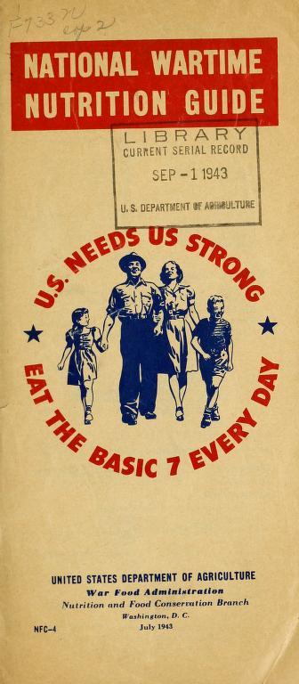 Picture of a family holding hands and the 1943 USDA bulletin with the words National Wartime Nutrition Guide. U. S. Needs US Strong, Eat the Basic 7 Every Day.