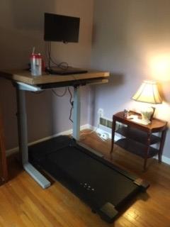 A treadmill desk