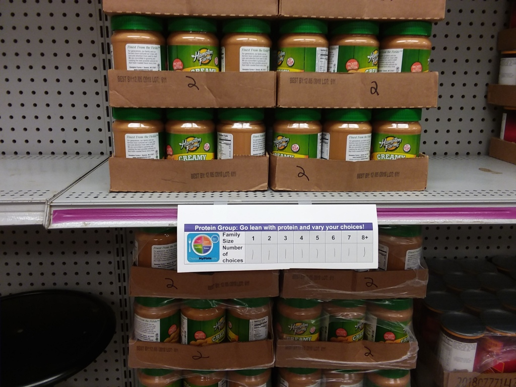 Choices of peanut butter on a shelf